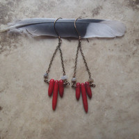 red gypsy... red turquoise and moonstone stick stone earrings // bohemian, tribal, gypsy, spike earrings