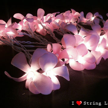 35 of Sweet Pink Frangipani Flower String Lights For Wedding and House decoration (35 Flowers/Set)