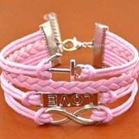 Infinity bracelet love bracelet anchor bracelet pink leather cotton ropes cuff bracelet sliver Infinity anchor love wrist bracelet  d-178