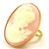 Vintage Huge Pink and Gold Cameo Ring