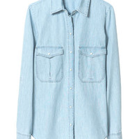 BLEACHED CHAMBRAY SHIRT - Tops - Woman - ZARA United States