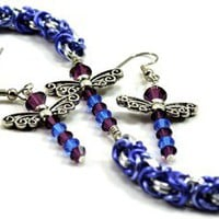 Blue and Purple Dragonfly Chainmaille Bracelet and Earrings Set