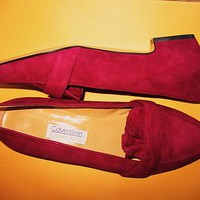 CALVIN KLEIN SHOES DARK PINK SUEDE LEATHER LOAFERS  !S 7.5 M/38 !MADE IN ITALY