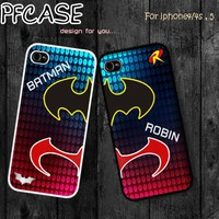 Batman and Robin Twin style : Handmade case For Iphone 4/4s ,5