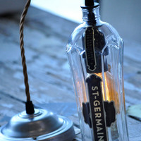 Recycled Whiskey St Germain Wine Liquor Hanging Pendant Bottle Light Lamp
