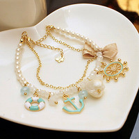 Rudder Anchor Pearl Shell Bowknot Beach Bracelet from FloralKiss
