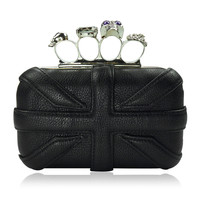 Union Jack Shaped Skeleton Hard Shell Clutch