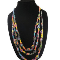 Ribbon Necklace Crochet Multicolor