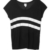 Black Oversized Modal T-shirt with Contrast Stripe Print
