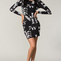Long Sleeve Body Hugging Dress With Printed Letters  Tanny&#x27;s Couture LLC
