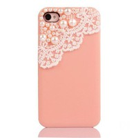 Lace with Pearl iPhone 4 / 4S Case -- light pink