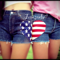 BFF shorts,High/Low waist American flag shorts by Jeansonly