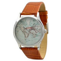 Vintage Map Watch (World) in Silver