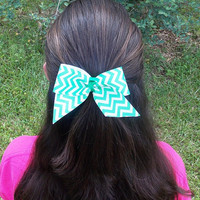 Girls Chevron Hair Bow, Green and White, single bow, knot center
