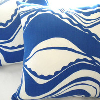 Trina Turk  Print Carmel Coastline Surf 18 x 18 toss pillow cover