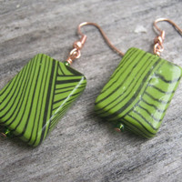 Funky Retro Green Copper Earrings