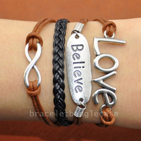 Silver Infinity bracelet ,love bracelet, Believe bracelet ,leather and cotton ropes cuff bracelet, jewelry bracelet  d-318