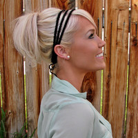 Très Chic Crochet Headband in Midnight Black - Adjustable
