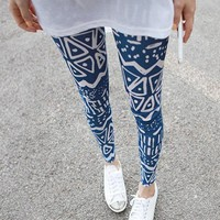 [313-Black] Zigzag Pattern Skinny Leggings Blue/BLACK [313]