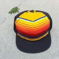 Hand stitched Brown Trucker Hat Mexican Blanket Yellow Black Stripes Adult Adjustable Back Strap By Roupoli