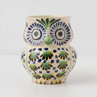 Anthropologie - Handpainted Folk Owl Mug