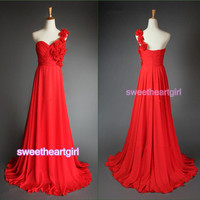 2013 New Style Sexy Prom Dress One-shoulder A-line Chiffon
