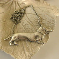 Silver Doxie - daschund necklace vintage copper brass