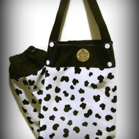 Fabric Plastic Bag Holder/ Grocery Bag Holder/ Black and White/Cow Theme