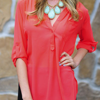 Feeling Relaxed Top/Tunic: Coral | Hope's