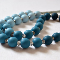 Wooden Jewelry, Blue Bead Necklace, Blue Ombre, Women's Jewelry