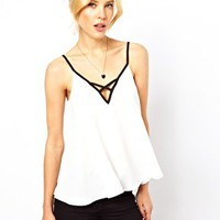 ASOS Cami With Contrast Cross front Detail at asos.com