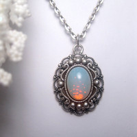 Blue Unicorn Snow Fire Opal Necklace