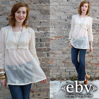 Vintage 70s Handmade Sheer Lace Hippie Boho Babydoll Top L XL