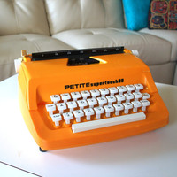 RETRO MOD PETITE Typewriter Vintage Mustard Yellow Manual 1960s Type Writer Made in England Super Touch 80