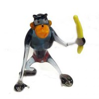 Glass Monkey with Banana - Blown Glass Monkies - Glass Animals Figurines