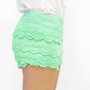 Pistachio Cakes Lace Crochet Layered Doll Shorts