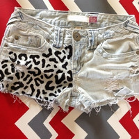 Decorated cheetah acid washed bow shorts by SassyCheeks on Etsy