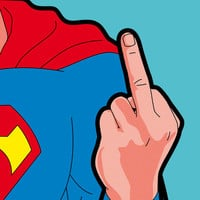 The secret life of heroes - SuperFinger Stretched Canvas by Greg-guillemin