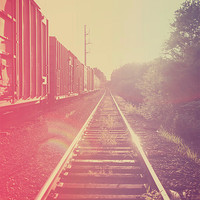 Train tracks in a dream - industrial color photography - trains - wall art - home decor - retro vintage colors
