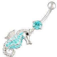 "14Gauge (1.6mm), 3/8"" Inch (10mm) seahorse Aquamarine Swarovski Crystal Ferido dangle belly dangling navel button ring dangly bar AFES - Pie"