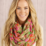 Infinity Scarf Floral Watercolor Print Circle Loop Scarf Women's Fashion Accessories Mother's Day Gifts for Her Pink, Taupes, Orange Greens