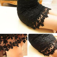[grhmf2600020] Sexy Hollow Out Lace Mini Skirt
