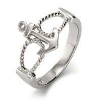 Sterling Silver Anchor Ring:Amazon:Jewelry