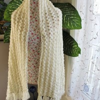 Ready to ship /GORGEOUS Angora Ivory Sparkle Handmade Crochet Wedding Shawl/ Neckwarmer Wrap / Bridal Lace Hairpin Lace - All Seasons