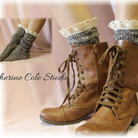 Nordic Lace short boot  lace socks in ACORN tweed for combat or cowboy boot socks by Catherine Cole Studio ruffled lace SLX1BL Made  in usa