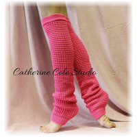 SHOCKING PINK Basic Dancer ballerina yoga Extra Long leg warmers womens  popcorn texture roomier LW02 by Catherine Cole Studio legwarmers
