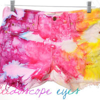 Vintage LEVIS Mid Rise Colorful MARBLED Dyed Destroyed Denim Cut Off Shorts L