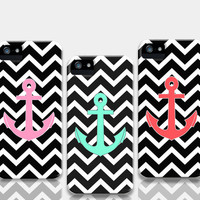 Black Chevron Pattern iPhone Anchor Cases by RexLambo