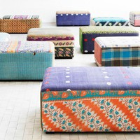 Antique Quilts Mags Ottoman - Living