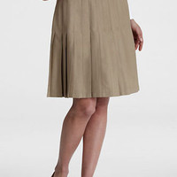 *NEW* LANDS END WRINKLE FREE PLEATED KNEE LENGTH SKIRT KHAKI SIZE 8
